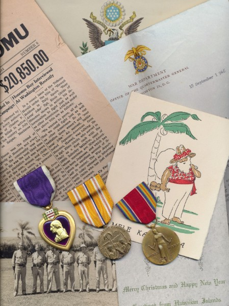 A rare Purple Heart medal group of 3 to a Scottish resident of the Hawaii Islands, who was 'Killed in Action' at Saipan: Private First Class Charles Pearson Skene, Jr., HQ Co, 1st Battalion 105th Infantry Regiment, 27th Infantry Division, United States Army late Lieutenant Hawaii Rifles