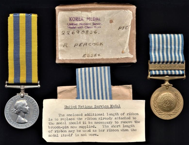 A rare to regiment Korean War campaign medal pair: Private R. Peacock, 1st Battalion Essex Regiment