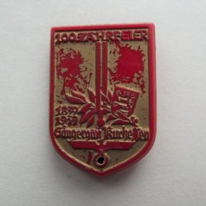 GERMAN PLASTIC DAY BADGE MAKER MARKED