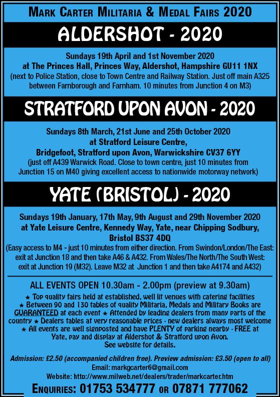 Mark Carter Militaria & Medal Fair – Stratford Upon Avon